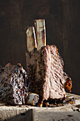 Beef ribs from a barrel smoker