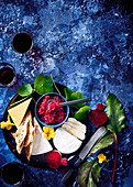 Turnip, onion and beetroot jam with cheese and crisp bread