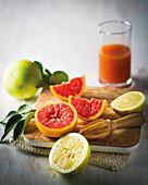 Grapefruits, gelb und pink, mit Zitruspresse