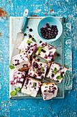 Frozen yoghurt slices with blueberries