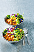 Coconut and chickpea bowls with avocado