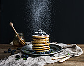 Pancake tower with fresh blueberry and mint