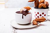 Spanish churros with hot chocolate