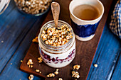 Yoghurt with pomegranate seeds and granola