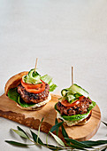 Lamb burgers with green olive yoghurt