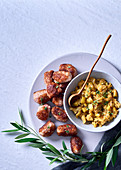 Pork meatballs with mustard, apple and sage chutney