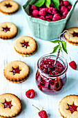 Linzer biscuits with raspberry jam