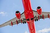 Passenger jet seen from below