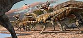 Alioramus attacking Olorotitan dinosaurs, illustration