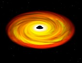 Spinning black hole, illustration