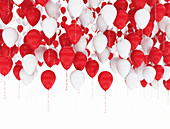 Red and white balloons, illustration