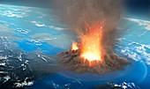 Supervolcano erupting, illustration