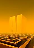 AI maze, conceptual illustration