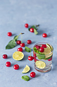 Mojito with cherries, lime slices and mint