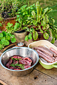 Sausages and marinated meat for grilling on a wooden board in a garden kitchen