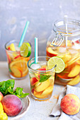 Home-made peach icetea