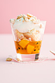 Mango trifle with sweet coconut cream