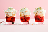 Strawberry trifle with sweet basil cream