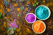Three types of Holi powder in bowls for Holi (India)