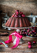 Chocolate bundt cake with cherries