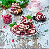 Chocolate raspberry quark brownie-cheesecake