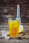 Sharbat (lemonade, Persia) with saffron, lemon and rose water
