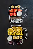 Zutaten für zwei fruchtige Smoothies