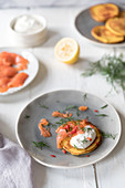 Corn cakes with smoked salmon, creme fraiche and dill