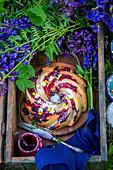Bundt cake in a garden
