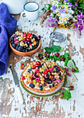 Mixed summer berry pie