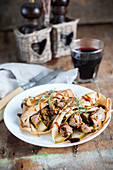 Chicken liver and pear stuffed crepes