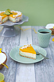Mango cheesecake with lime and coconut