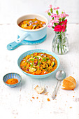 Vegetable curry with lentils, pumpkin and courgette