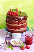 Chocolate cake with chocolate and hazelnut cream and raspberry jam