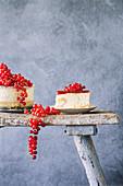 Profiterole cake with redcurrants