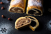 Hungarian beigli with a poppyseed and hazelnut filling for Christmas