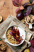 Millet with caramelized plums