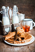 Oat crepes with honey