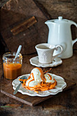 Sour cream ice cream with sweet potatoes and salted caramel sauce