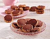 Chocolate shortbread biscuits with brown sugar