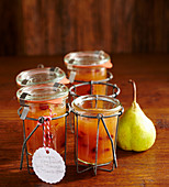 Pear jam with cranberries, marzipan, mango and lime juice