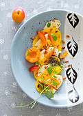 Apricot and mango caprese with mint and pinenuts