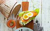 An open salmon sandwich with egg