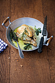 Spring chicken with herbs (sage, rosemary, thyme)