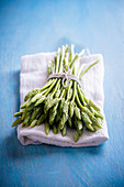Wild Asparagus on a cloth napkin