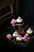 Vegan apricot cupcakes with rose water and vanilla frosting