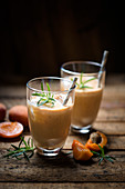Iced vegan apricot lassi with rosemary