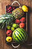 Summer fruit variety - Watermelon, pineapple, lemon, figs, peach, sweet cherry, apple