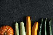 Stillleben mit Kürbis und Zucchini in verschiedenen Farben