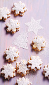 Shortbread almond stars filled with apricot jam